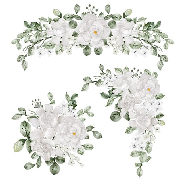 Conjunto em aquarela de arranjo de flores com flor branca de gardênia