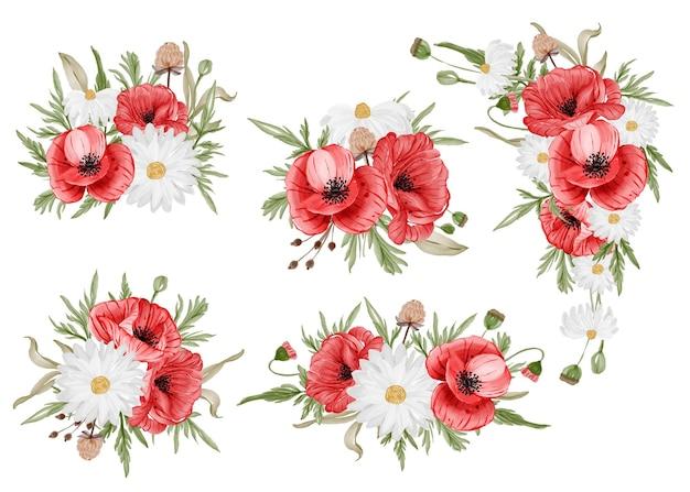 Conjunto em aquarela de arranjo de flores com flor de papoula vermelha