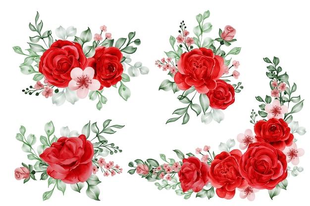 Conjunto em aquarela de arranjo de flores liberdade rosa vermelha e folhas