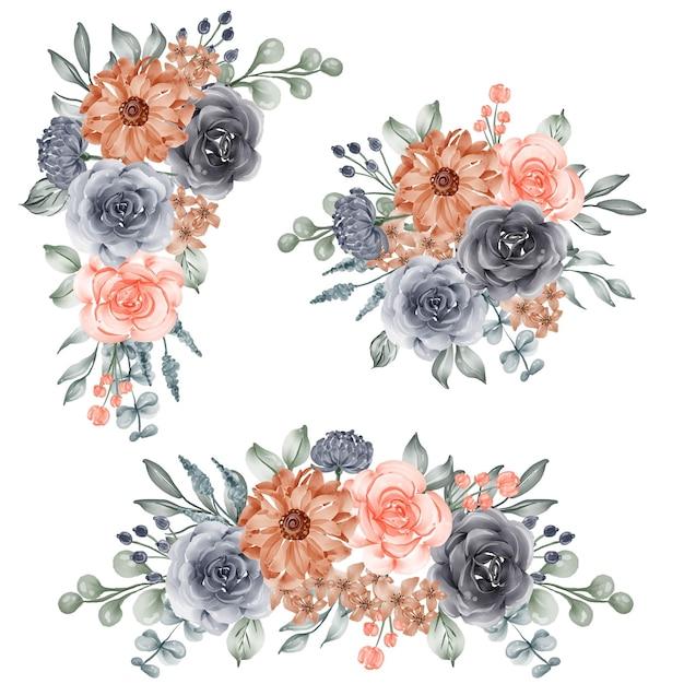 Conjunto em aquarela de arranjo de flores marinho e laranja pêssego