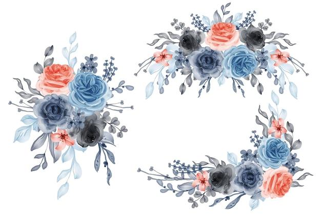 Conjunto em aquarela de arranjo de flores rosa laranja azul e folhas