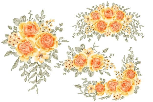 Conjunto em aquarela de arranjo de flores rosa talitha amarelo laranja e folhas