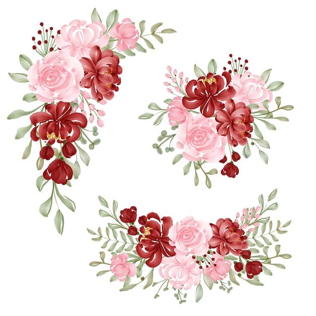 Conjunto em aquarela de arranjo de flores vermelho e rosa