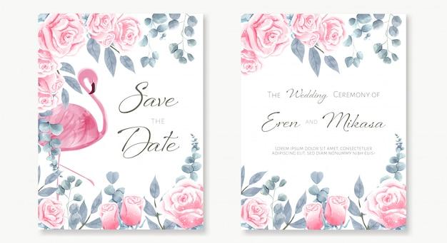 Conjunto em aquarela de cartão de casamento em flamingo em amont o jardim de rosas cor de rosa.