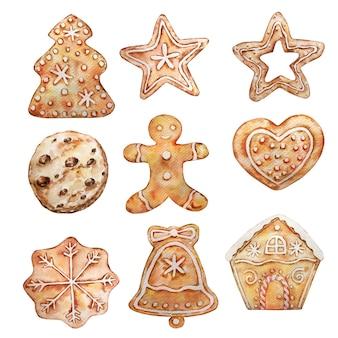 Conjunto em aquarela de diferentes estrelas de gengibre de natal, floco de neve, homem, casa.