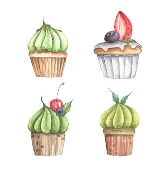 Conjunto em aquarela de diferentes ilustrações de cupcakes