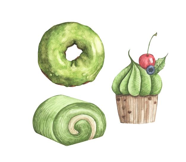 Conjunto em aquarela de ilustração de bolo de sobremesas matcha
