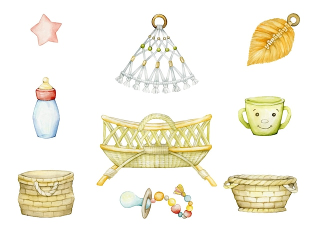 Conjunto em aquarela de ilustrações do quarto infantil