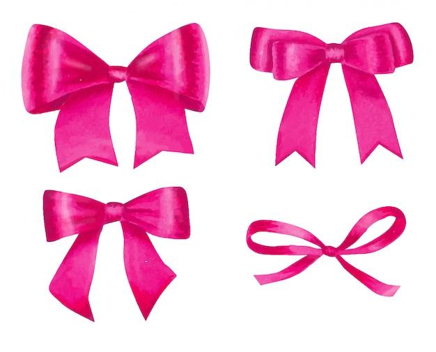 Conjunto em aquarela de laços de cetim rosa.