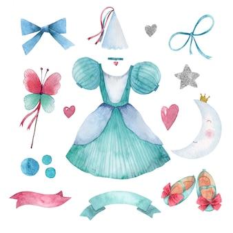 Conjunto em aquarela de pequenos acessórios de princesa