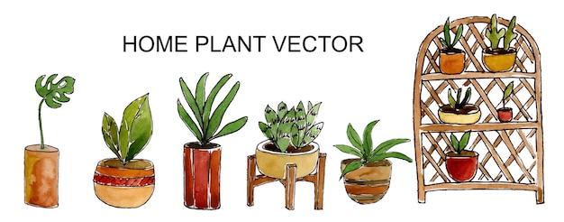 Conjunto em aquarela de plantas de interior isoladas em branco
