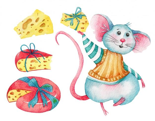 Conjunto em aquarela de rato bonitinho e queijos