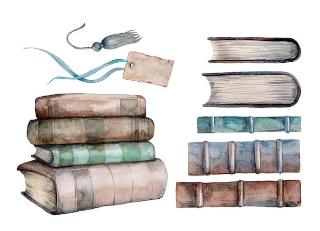 Conjunto em aquarela de velhos livros antigos e etiquetas