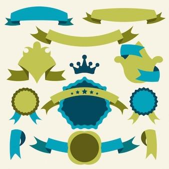 Conjunto emblema verde e azul