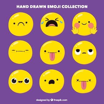 Conjunto emoticon desenhada à mão