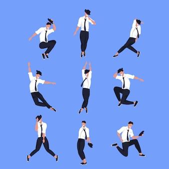 Conjunto empresário dançarino em poses diferentes, personagem de desenho animado masculino dançando coleção comprimento total de fundo azul