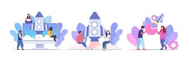 Conjunto empresários brainstorming equipe bem sucedida lançamento lançamento foguete espacial conceito mistura funcionários de corrida usando dispositivos digitais comprimento total horizontal