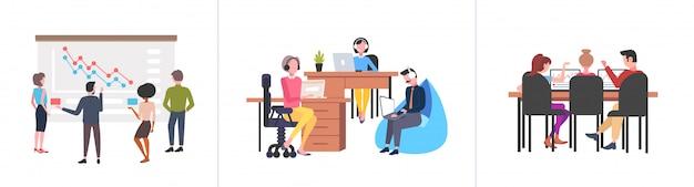 Conjunto empresários equipe seminário treinamento conferência brainstorming co-trabalhando conceitos de trabalho em equipe coleção fundo branco comprimento total horizontal