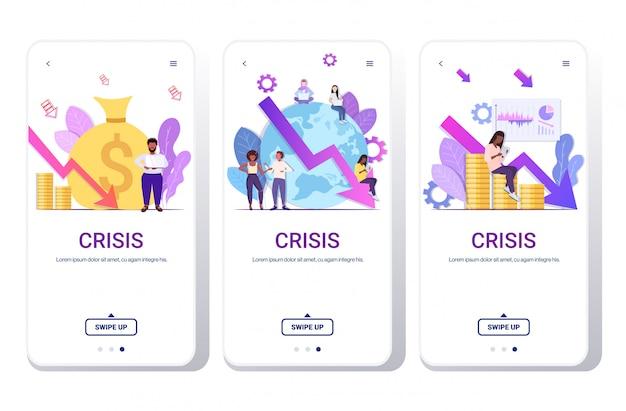 Conjunto empresários frustrado sobre crise financeira falência investimento conceito risco raça colegas brainstorming parar seta seta telefone telas coleção horizontal