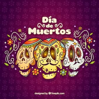 Conjunto engraçado de crânios mexicanos originais