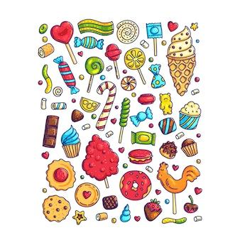 Conjunto enorme de desenhos animados doodle formulário doces e guloseimas. pirulito, algodão, rosquinha e caramelo às riscas.