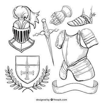 Conjunto esboçado de elementos medievais