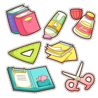 Conjunto escolar. conjunto de diferentes itens escolares, ilustração.