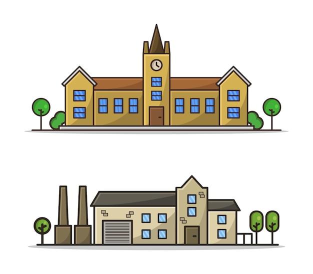 Conjunto escolar e industrial ilustrado em desenho animado