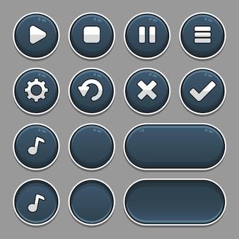 Conjunto escuro de elementos de botão de jogo e barra de progresso, botões brilhantes de diferentes formas para jogos e aplicativos.