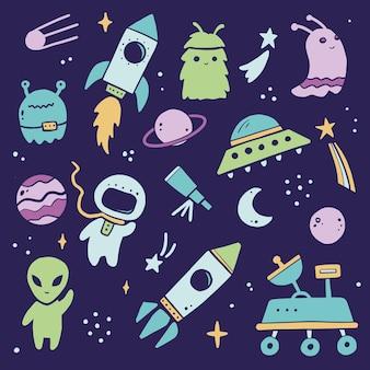 Conjunto espacial bonito dos desenhos animados, foguete, astronauta, planeta, ovni, alienígena