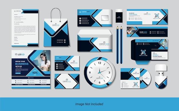 Conjunto estacionário com formas geométricas criativas simples de cor azul.