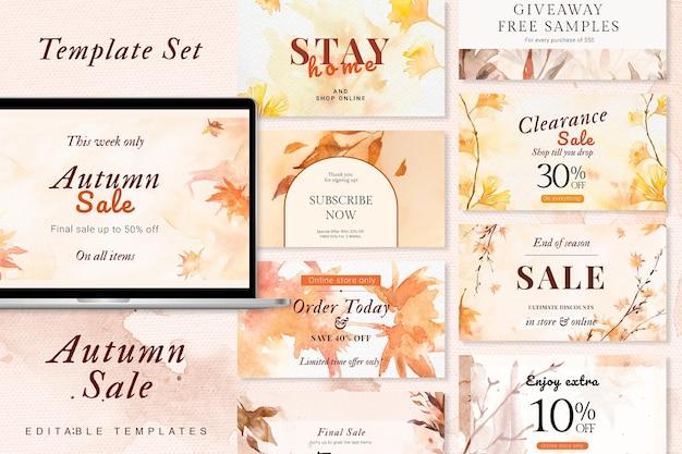 Conjunto estético de banner de anúncio de vetor de modelo de venda de outono