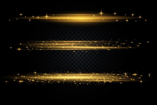 Conjunto. estrela brilhante, as partículas do sol e faíscas com um efeito de destaque, luzes de bokeh coloridas brilham e lantejoulas