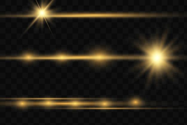 Conjunto. estrela brilhante, as partículas do sol e faíscas com um efeito de destaque, luzes de bokeh coloridas brilham e sequ