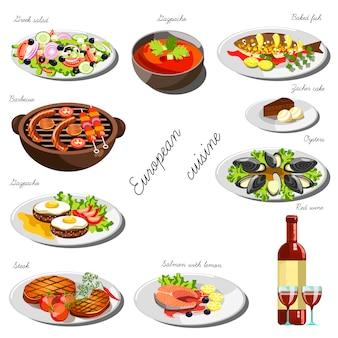 Conjunto europeu de cozinha. coleção de pratos de comida