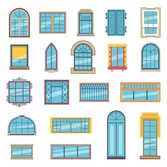 Conjunto exterior de diferentes janelas de plástico ou madeira