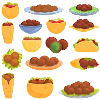 Conjunto falafel. conjunto de desenhos animados de falafel