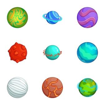 Conjunto fantástico de planetas, estilo cartoon