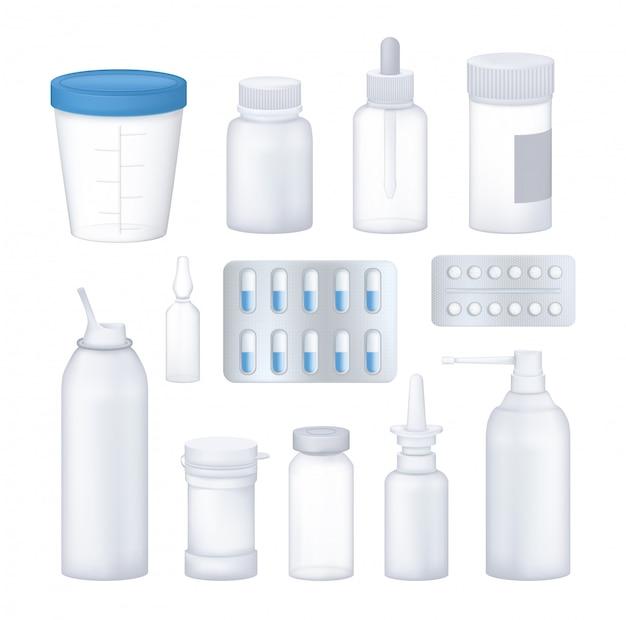 Conjunto farmacêutico de farmácia de embalagens 3d vazias, transparentes para medicamentos.