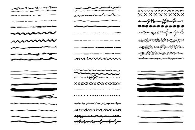 Conjunto feito à mão enfatizar no estilo doodle com pincel linhas de sublinhado ornamentos de pincel