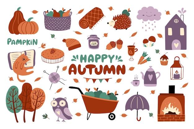 Conjunto feliz de outono