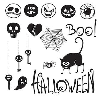 Conjunto feliz dia das bruxas! emoticons dia das bruxas. gato. aranha. chaves.