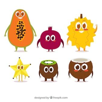 Conjunto, feliz, fruta, personagens, liso, desenho