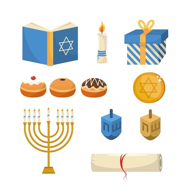 Conjunto feliz hanukkah tradicional celebração