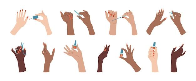 Conjunto feminino de mão bem cuidada na moda. desenho de unhas de mãos multirraciais, verniz, lima e tesoura. acessórios de manicure plana, ferramentas de equipamento.