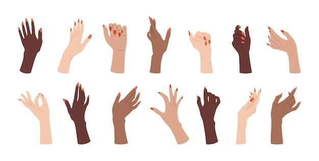 Conjunto feminino de unhas bem cuidadas. design de unhas de braços de mulheres multirraciais.
