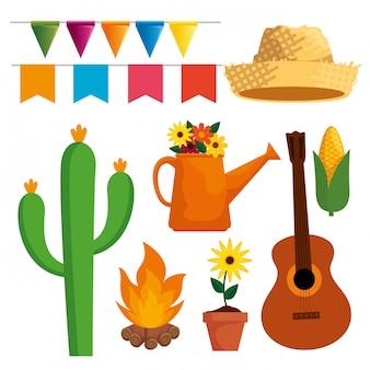 Conjunto festa junina celebração com decoração de festa
