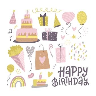 Conjunto festivo de coleção de símbolos de festa de feliz aniversário