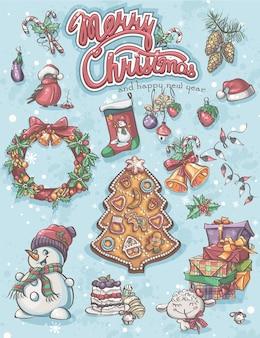 Conjunto festivo de elementos para feliz natal