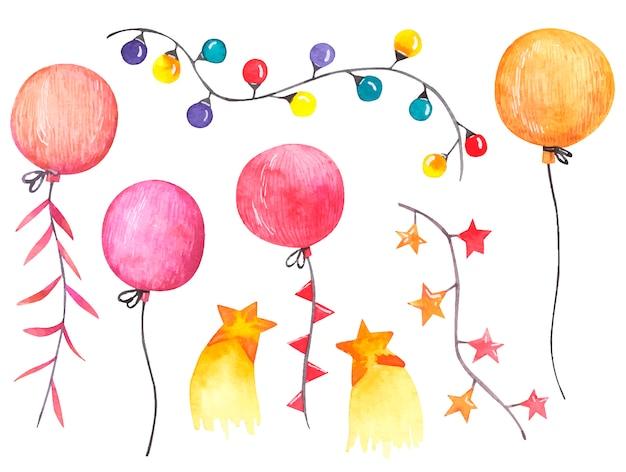 Conjunto festivo para aniversário e feriados, bolas, guirlandas ilustração aquarela sobre fundo branco